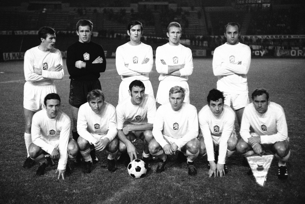 FILE - In this Dec. 3, 1969 file photo Jozef Adamec, top left, poses for a team group with the Czechoslovakian national soccer team in the stadium of ...