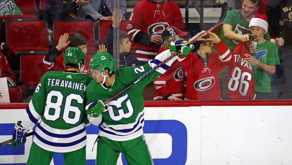Carolina Hurricanes' Sebastian Aho (20) and Teuvo Teravainen (86) warmup in Hartford Whalers jerseys prior to their game with the Boston Bruins Sunday...