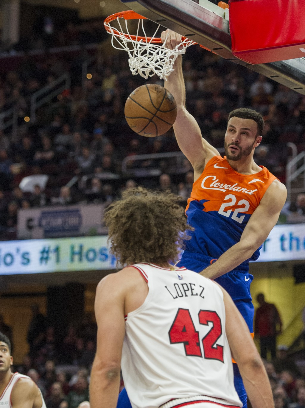 Cleveland Cavaliers' Larry Nance Jr. (22) dunks against the Chicago Bulls during the first half of an NBA basketball game in Cleveland, Sunday, Dec. 2...