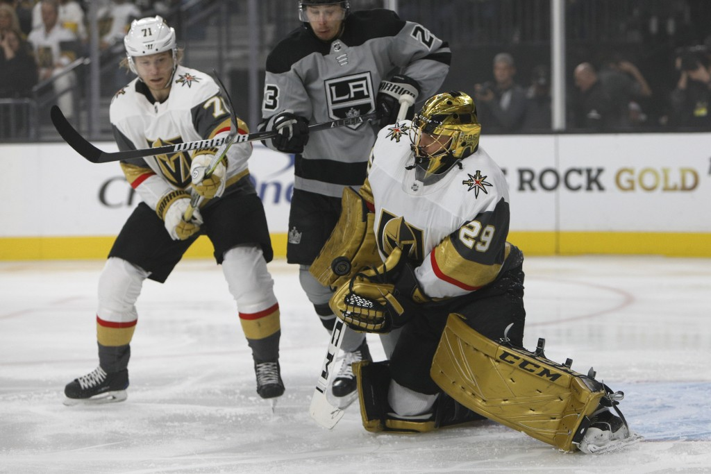 Vegas Golden Knights goaltender Marc-Andre Fleury (29) makes the save during the first period of an NHL hockey game against the Los Angeles Kings Sund...
