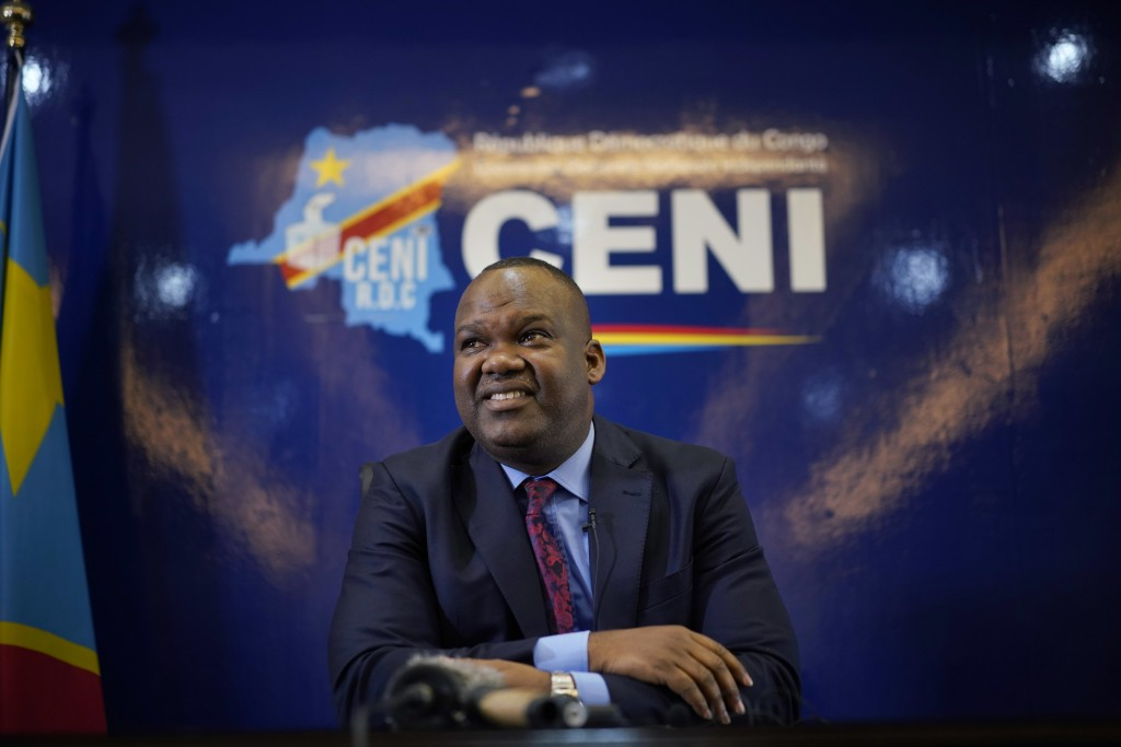 Corneille Nangaa, the president of the independent electoral commission (CENI), speaks to reporters Monday, Dec. 24, 2018 in Kinshasa, Democratic Repu...