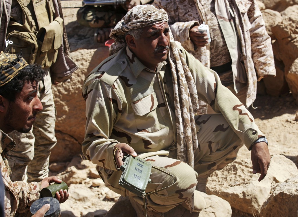 FILE - In this Feb. 2, 2018 file photo, Maj. Gen. Nasser Ali al-Daibany of Yemen's internationally recognized government shows journalists a deactivat...