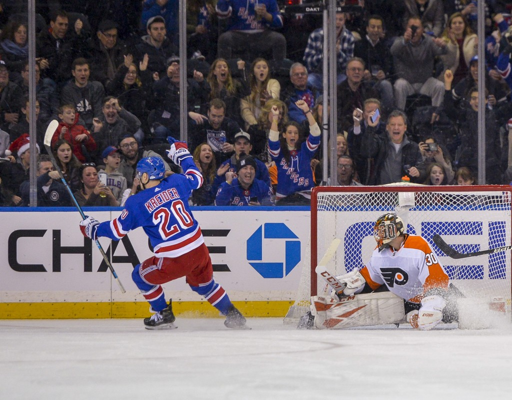 New York Rangers left wing Chris Kreider (20) scores against Philadelphia Flyers goaltender Michal Neuvirth (30) during the first period of an NHL hoc...