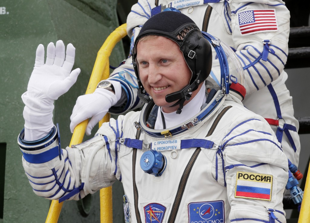 FILE - In this Wednesday, June 6, 2018 file photo, Russian cosmonaut Sergey Prokopyev, crew member of the mission to the International Space Station, ...