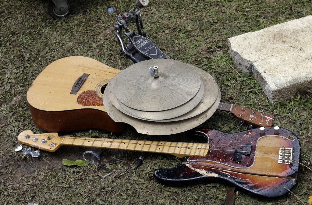 Band equipment damaged by a tsunami is seen at Tanjung Lesung beach resorts Indonesia, Monday, Dec. 24, 2018. The tsunami that roared ashore in Indone...