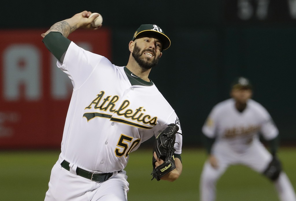 FILE - In this Sept. 5, 2018, file photo, Oakland Athletics pitcher Mike Fiers throws to a New York Yankees batter during the first inning of a baseba...