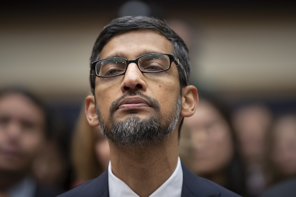 FILE - In this Dec. 11, 2018, file photo, Google CEO Sundar Pichai appears before the House Judiciary Committee to be questioned about the internet gi...
