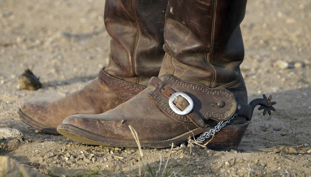 FILE - In this Oct. 27, 2018, file photo, a rider's boots are shown during an annual bison roundup, on Antelope Island, Utah. This year, about 700 bis...