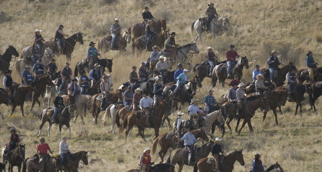 FILE - In this Oct. 27, 2018, file photo, riders on horseback herd bison during an annual roundup, on Antelope Island, Utah. This year, about 700 biso...