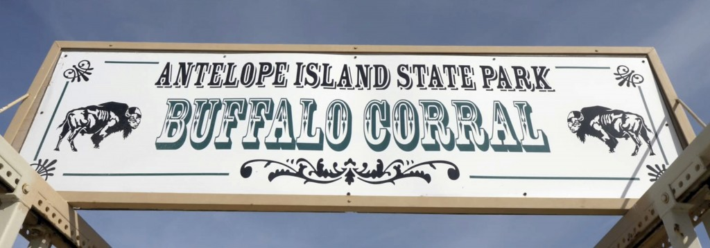 FILE - In this Oct. 27, 2018, file photo, the Buffalo Corral sign is shown during an annual bison roundup, on Antelope Island, Utah. This year, about ...