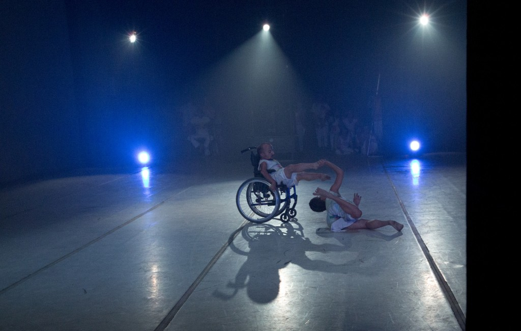 In this Dec. 4, 2018 photo, dancer Sendoa Quijada performs in his wheelchair in the contemporary dance production Ubuntu, at the Teresa Carreno Theate...