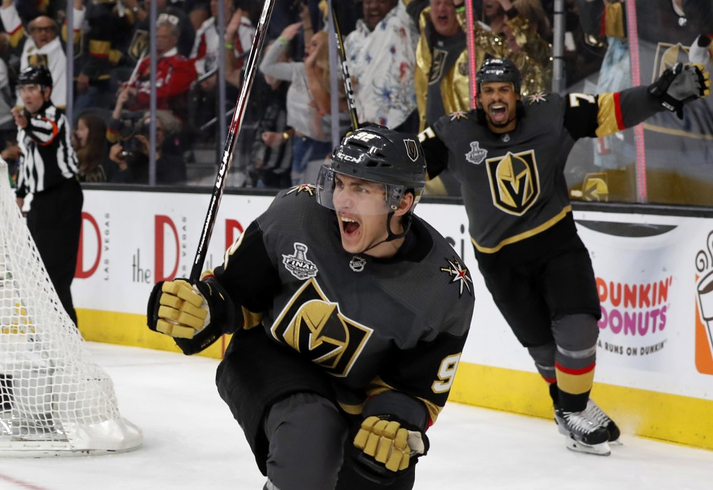 FILE - In this May 28, 2018, file photo, Vegas Golden Knights left wing Tomas Nosek (92) celebrates a goal in the third period during Game 1 of the NH...