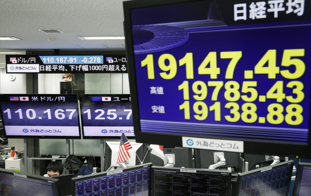 CORRECTS DATE - Monitors show Nikkei stock index, right, and the exchange rate between Japan's yen and U.S. dollar, left, at a foreign exchange trader