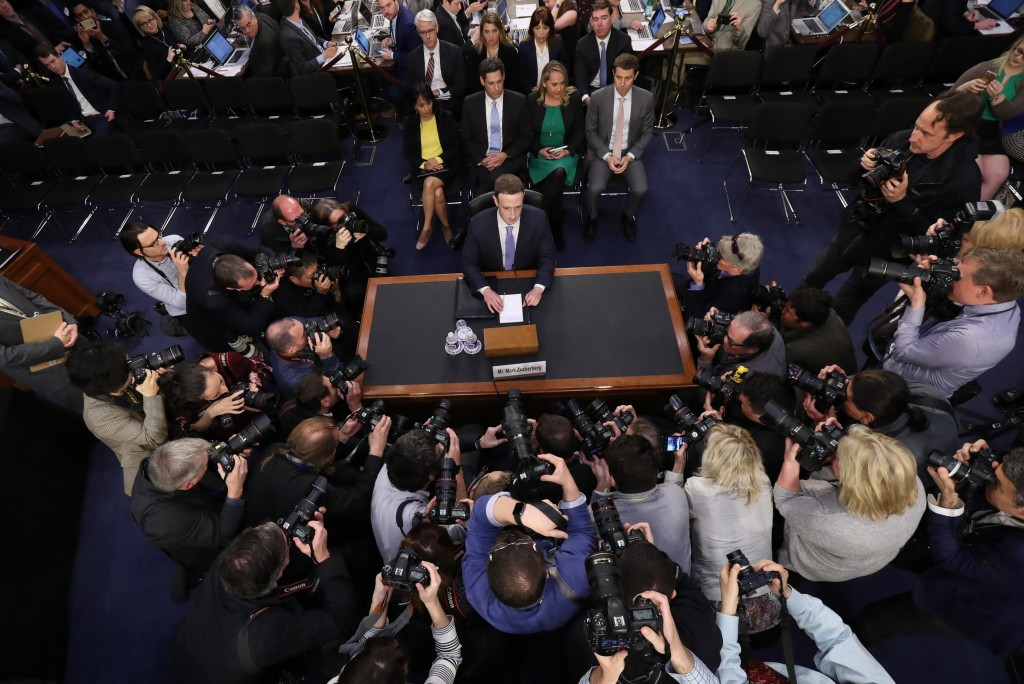 FILE - In this April 10, 2018, file photo, Facebook CEO Mark Zuckerberg arrives to testify before a joint hearing of the Commerce and Judiciary Commit...