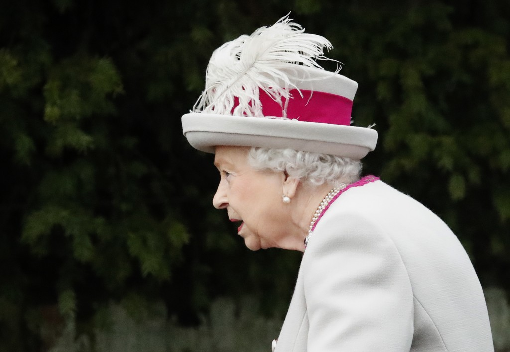 Britain's Queen Elizabeth II arrives to attend the Christmas day service at St Mary Magdalene Church in Sandringham in Norfolk, England, Tuesday, Dec....