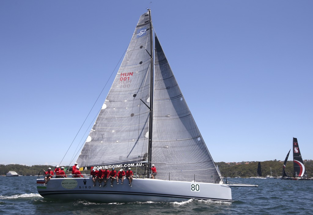 The M3 Team Hungary yacht prepares for the start of the Sydney Hobart yacht race in Sydney, Wednesday, Dec. 26, 2018. The 630-nautical mile race has 8