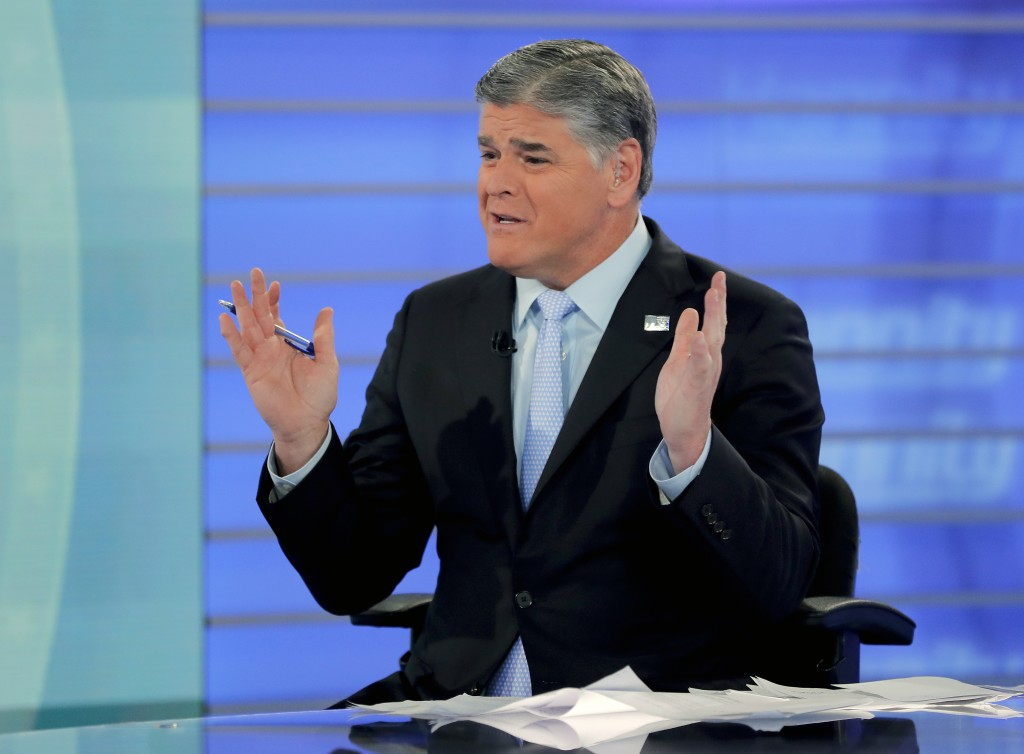 FILE - In this July 26, 2018, file photo, Fox News talk show host Sean Hannity talks during an interview during a taping of his show in New York. Bad