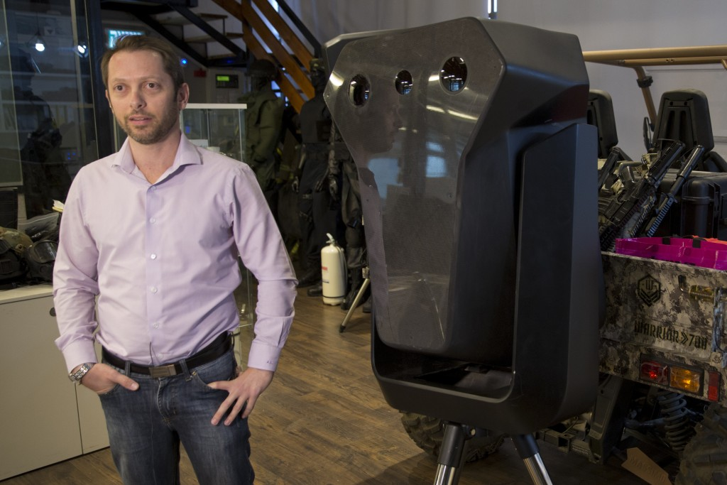 Product manager Asaf Lebovitz from the Israeli anti-drone company Skylock, explains their system's main unit at the company's offices in Petah Tikvah,...