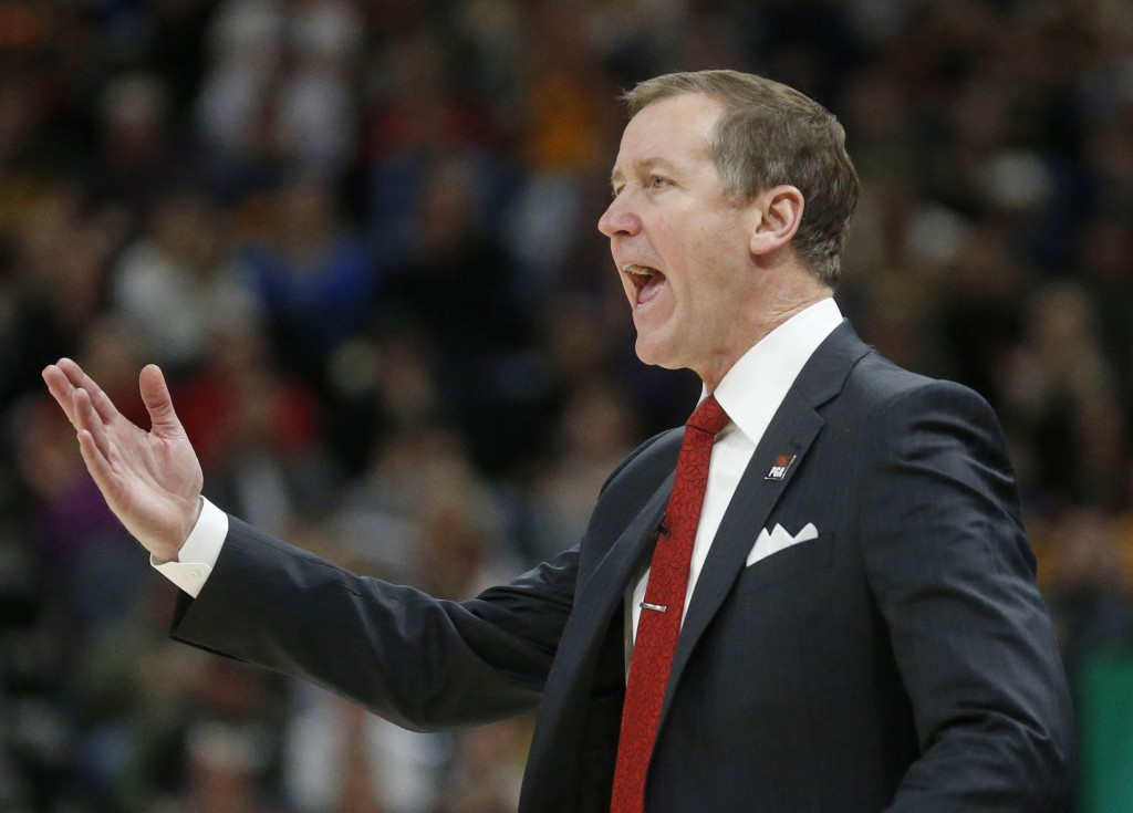 Portland Trail Blazers coach Terry Stotts shouts to his team during the first half of an NBA basketball game against the Utah Jazz on Tuesday, Dec. 25...