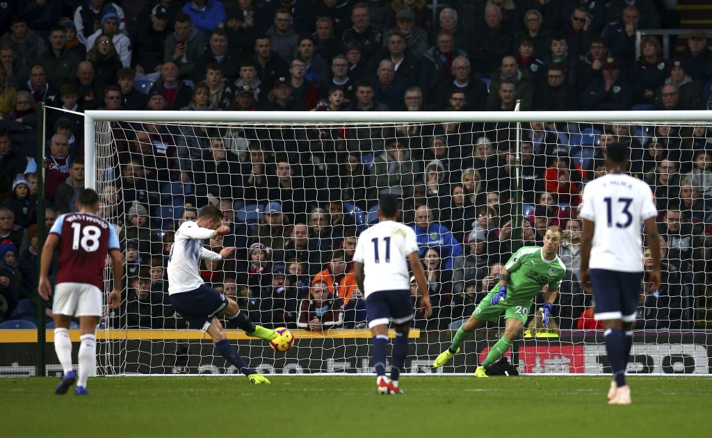 Everton's Gylfi Sigurdsson scores his side's third goal of the game from the penalty spot, during the English Premier League soccer match between Burn...