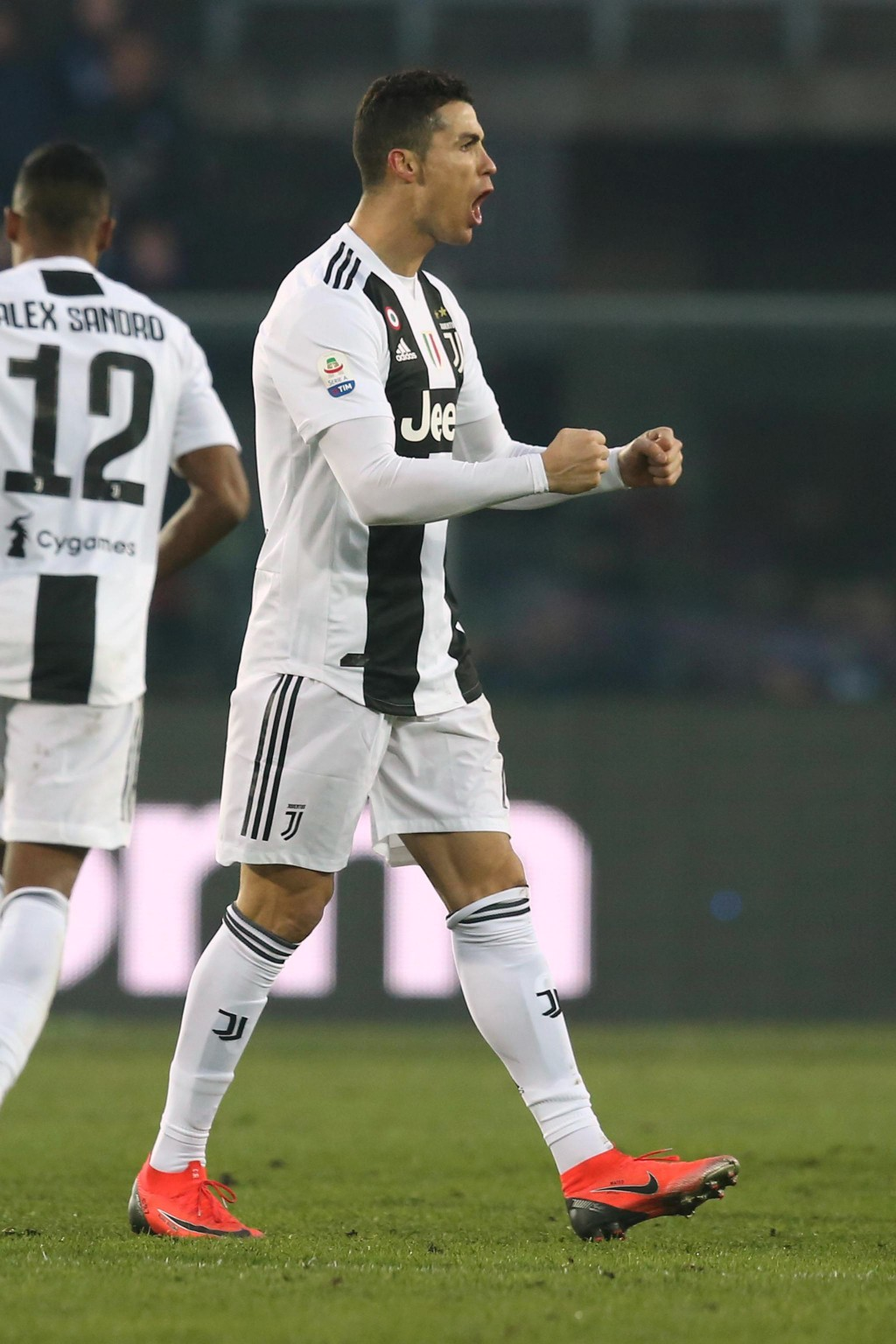 FILE - In this Wednesday,  Dec. 26, 2018 file photo, Juventus' Cristiano Ronaldo celebrates after scoring his side's second goal during the Serie A so...
