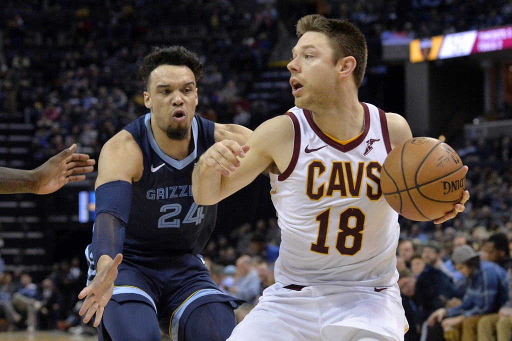 Cleveland Cavaliers guard Matthew Dellavedova (18) controls the ball as Memphis Grizzlies guard Dillon Brooks defends during the second half of an NBA...