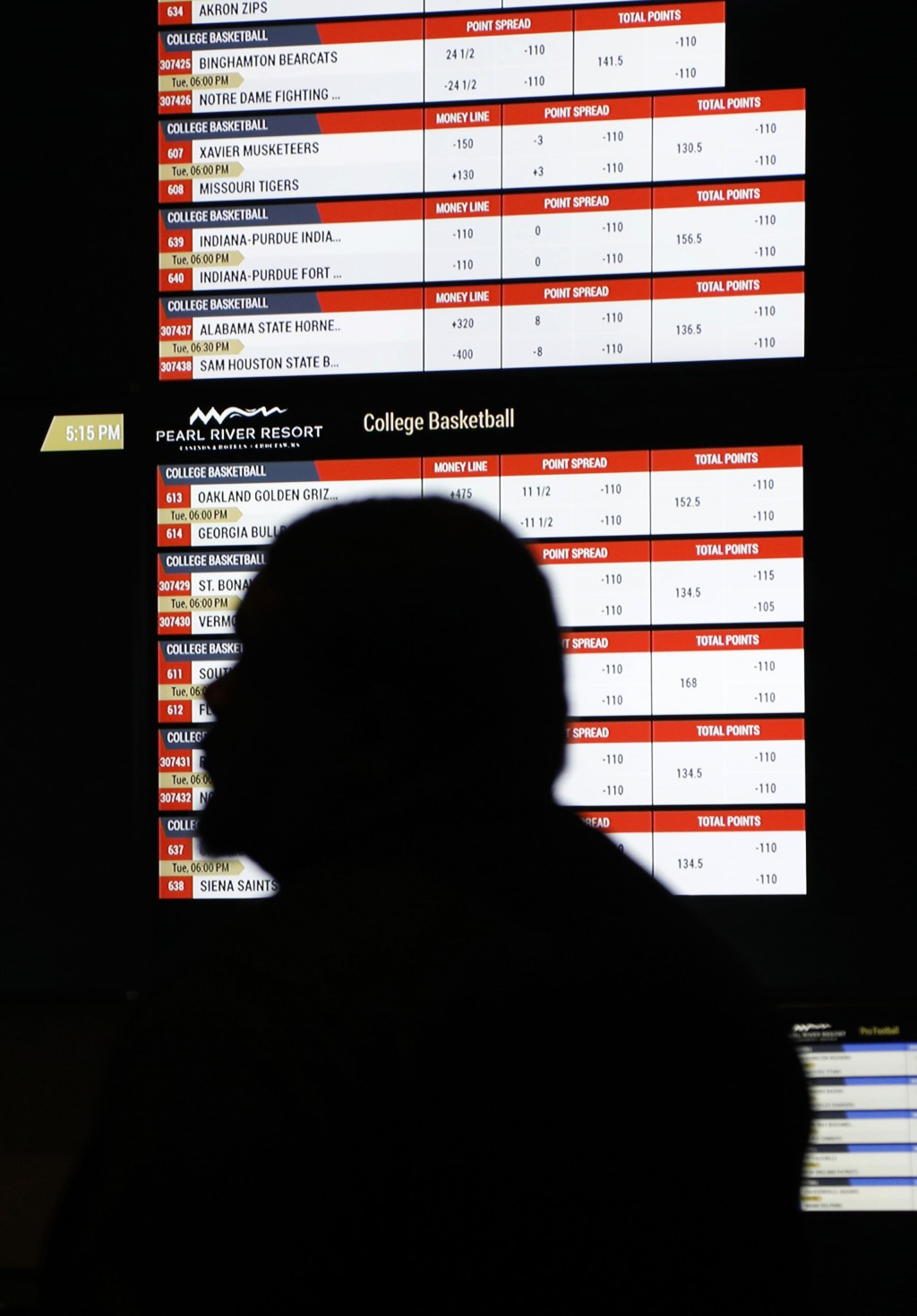 In this Dec. 18, 2018 photo, a person walks by a betting wall at the Pearl River Resort in Philadelphia, Miss. The sports book owned by the Mississipp