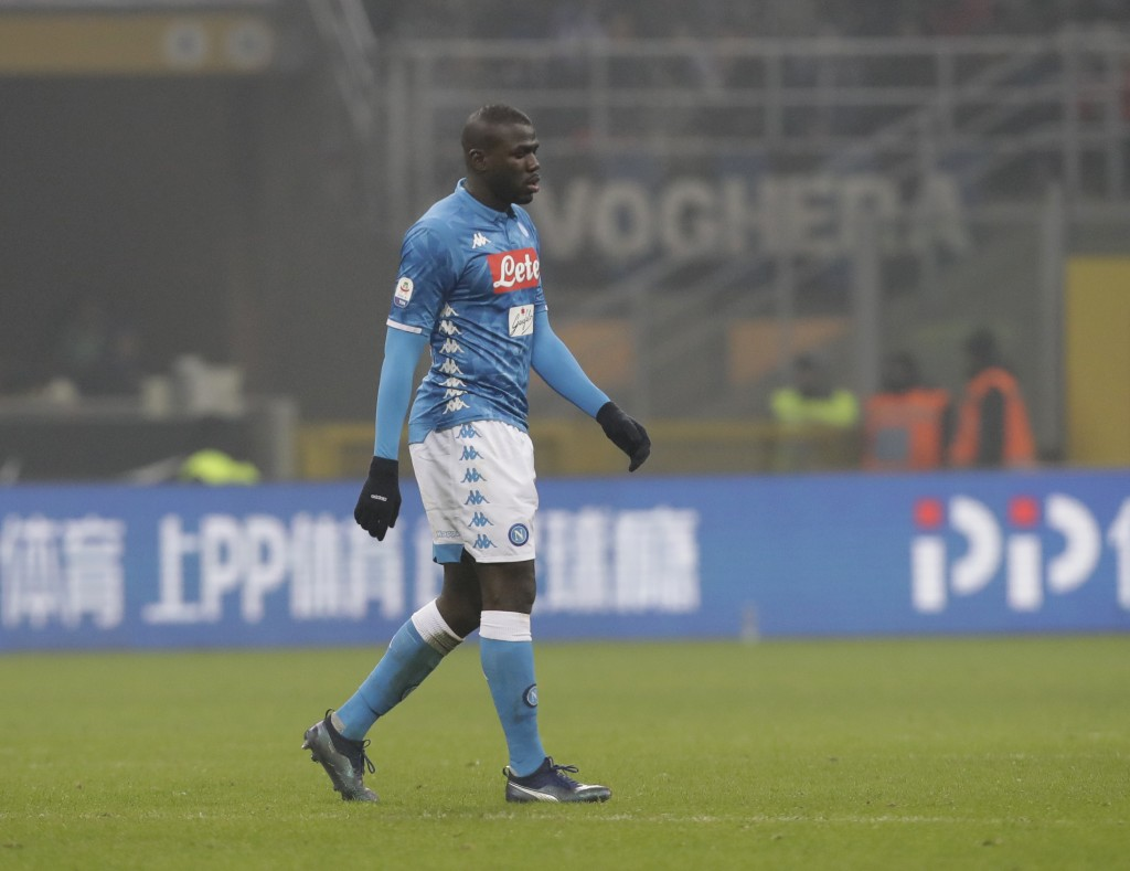 FILE - In this Wednesday, Dec. 26, 2018 file photo, Napoli's Kalidou Koulibaly leaves the pitch after receiving a red card from the referee during a S