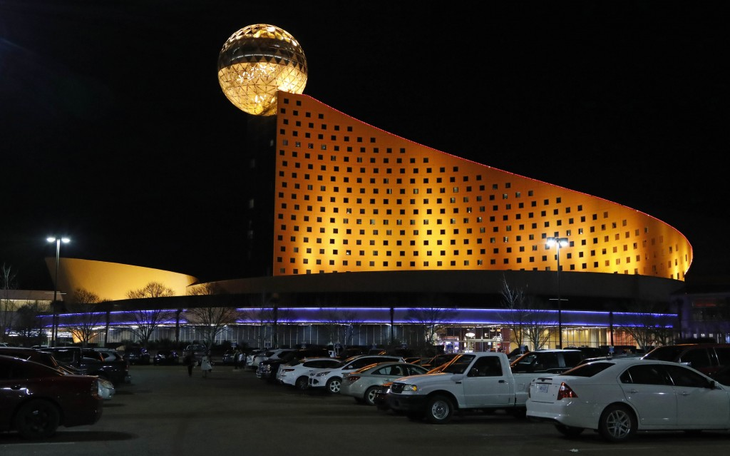 In this Dec. 18, 2018 photo, the Golden Moon Hotel and Casino, part of the Pearl River Resort is lit in Philadelphia, Miss.  The sports book owned by