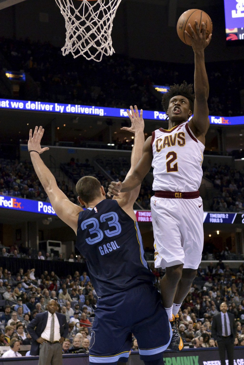 Cleveland Cavaliers guard Collin Sexton (2) shoots over Memphis Grizzlies center Marc Gasol (33) during the second half of an NBA basketball game Wedn...