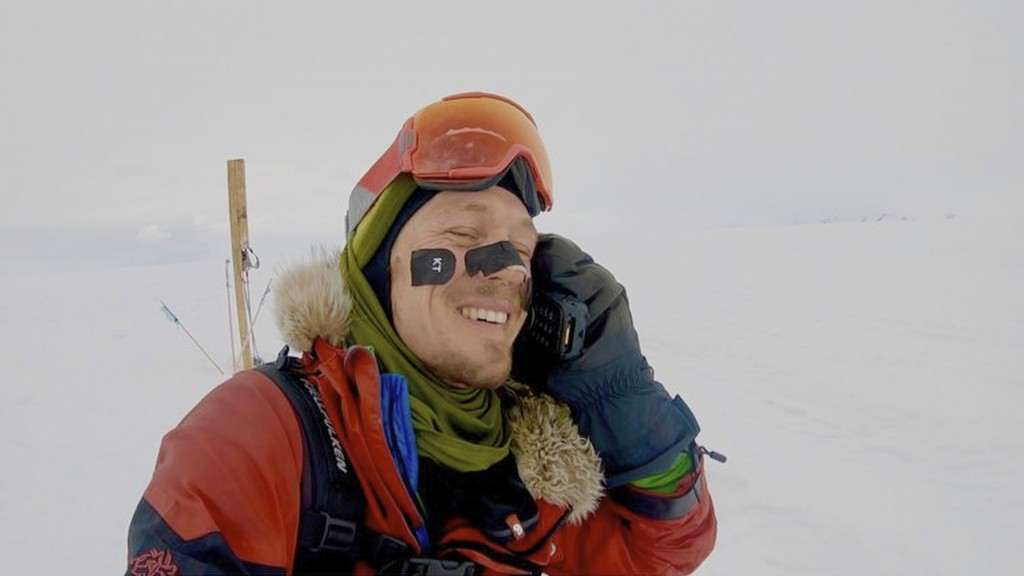 In this photo provided by Colin O'Brady, of Portland., Ore., he speaks on the phone in Antarctica on Wednesday, Dec. 26, 2018. He has become the first...