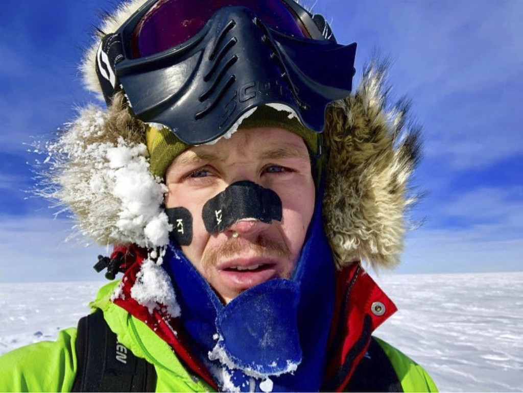 This Dec. 9, 2018, selfie provided by Colin O'Brady, of Portland., Ore., shows himself in Antarctica. He has become the first person to traverse Antar...