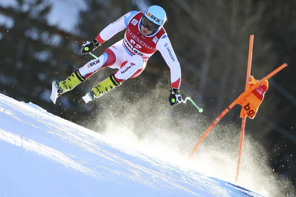 Switzerland's Patrick Kueng speeds down the course during a ski World Cup Men's Downhill training in Bormio, Italy, Thursday, Dec. 27, 2018. (AP Photo