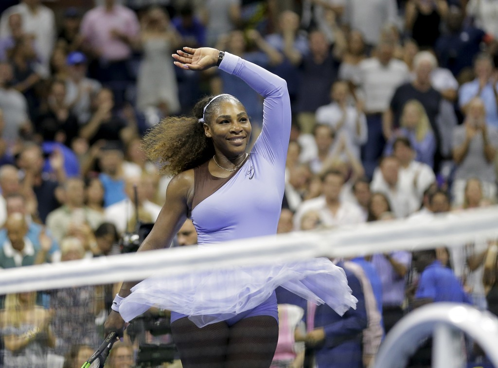 FILE - In this Sept. 6, 2018, file photo, Serena Williams celebrates after defeating Anastasija Sevastova, of Latvia, during the semifinals of the U.S...