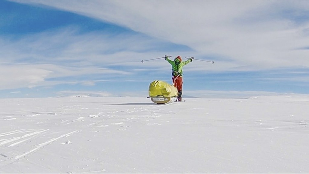 In this photo provided by Colin O'Brady, of Portland., Ore., he poses for a photo while traveling across Antarctica on Wednesday, Dec. 26, 2018. He ha...