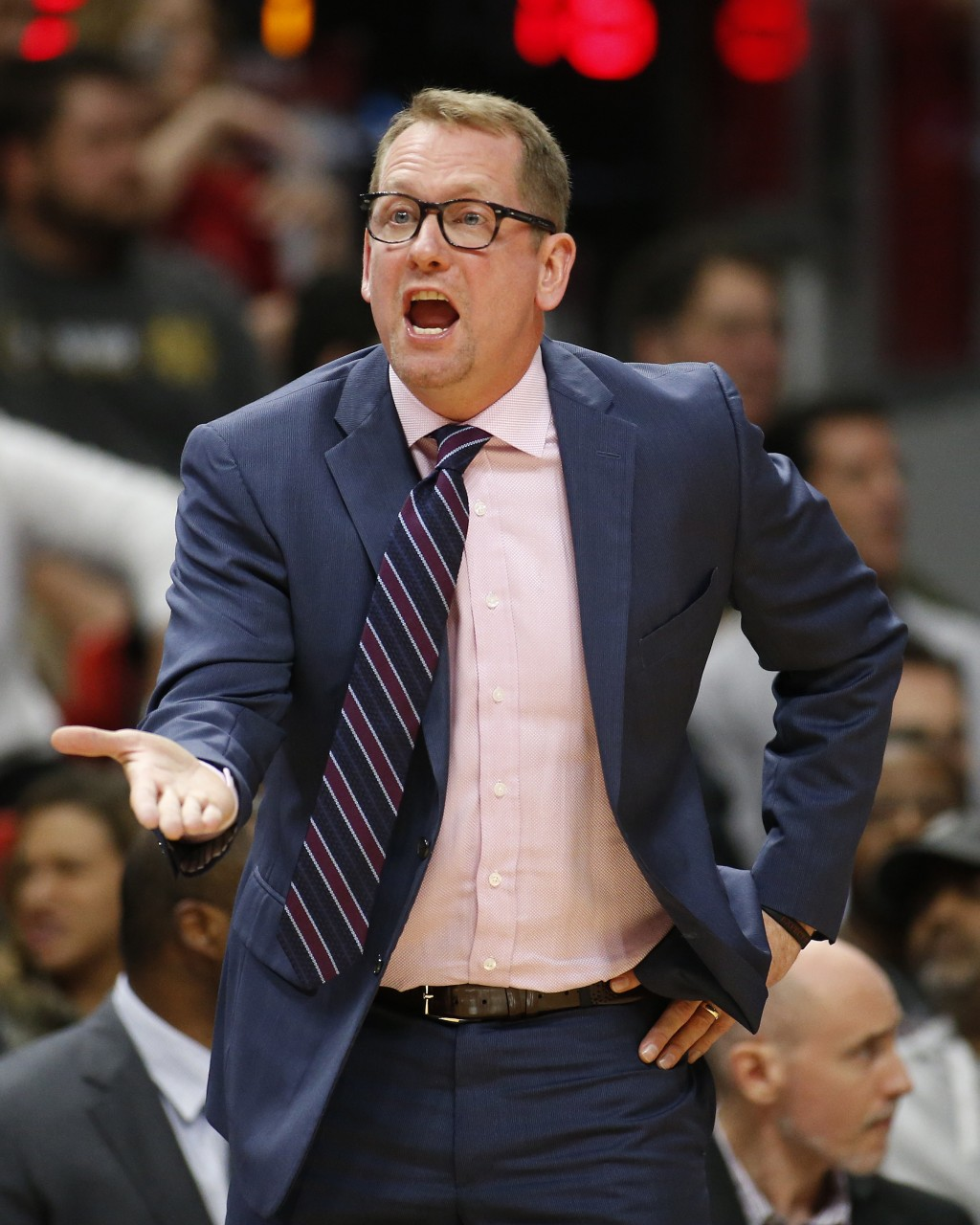 Toronto Raptors coachNick Nurse argues a foul call during the first half of the team's NBA basketball game against the Miami Heat, Wednesday, Dec. 26...