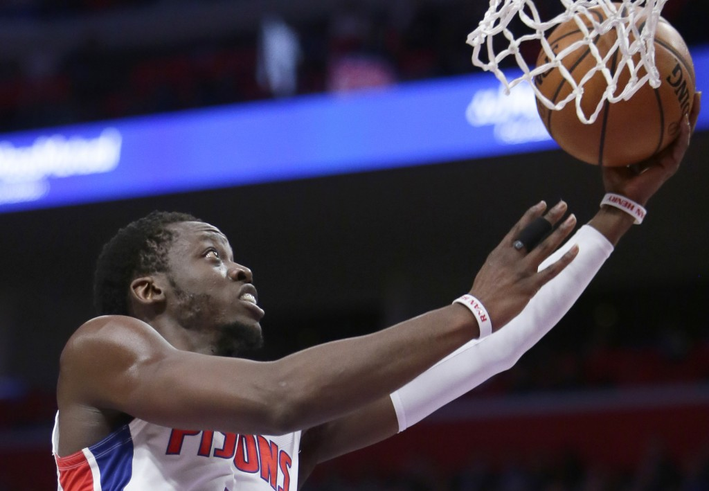 Detroit Pistons guard Reggie Jackson (1) goes to the basket against the Washington Wizards during the first half of an NBA basketball game Wednesday, ...