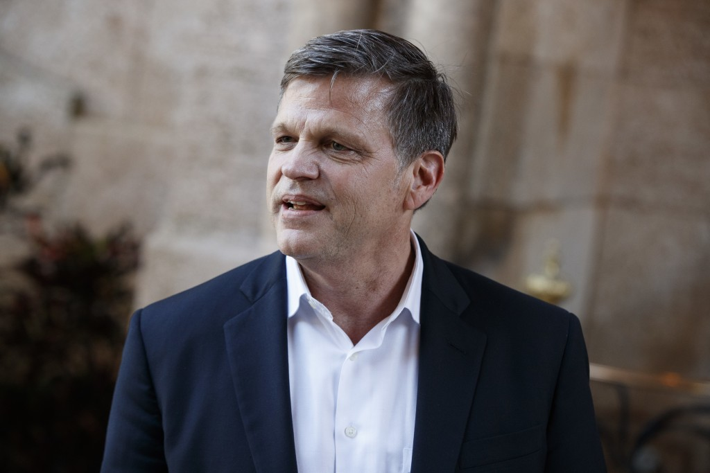 FILE - In this Dec. 28, 2016 file photo, historian Douglas Brinkley talks with reporters at Mar-a-Lago after meeting with then President-elect Donald ...