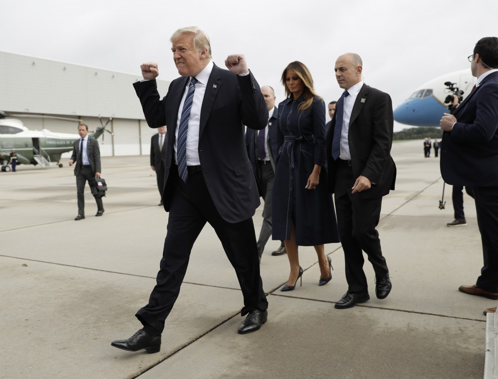 FILE - In this Sept. 11, 2018, file photo, President Donald Trump and first lady Melania Trump arrive at John Murtha Johnstown-Cambria County Airport ...