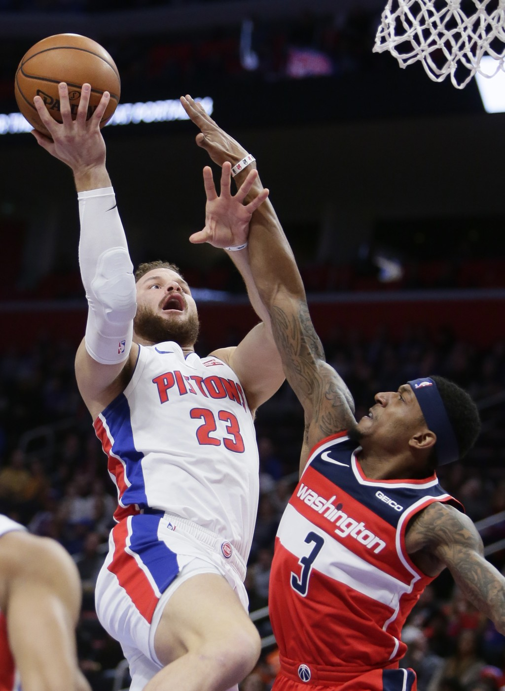 Detroit Pistons forward Blake Griffin (23) goes to the basket against Washington Wizards guard Bradley Beal (3) during the first half of an NBA basket...