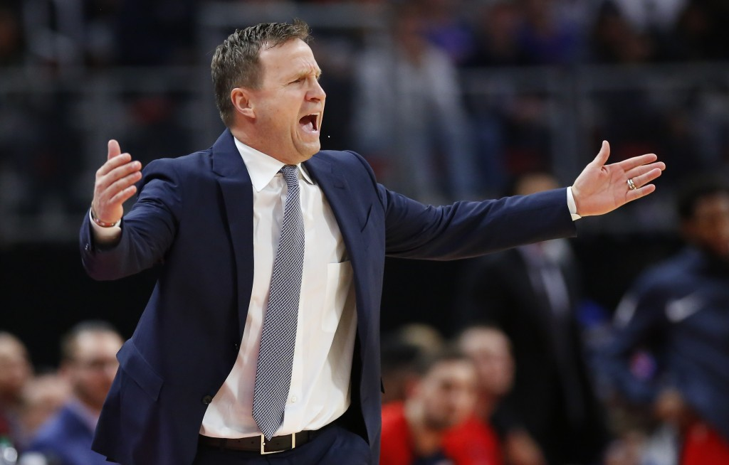 Washington Wizards head coach Scott Brooks yells out the officials during the first half of an NBA basketball game against the Detroit Pistons Wednesd...