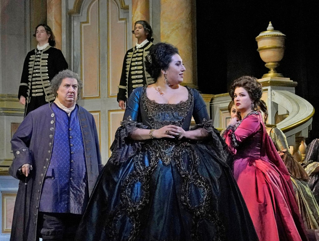 In this 2018 photo, Ambrogio Maestri, from left, as Michonnet, Anita Rachvelishvili as the Princess of Bouillon, and Anna Netrebko as Adriana Lecouvre...
