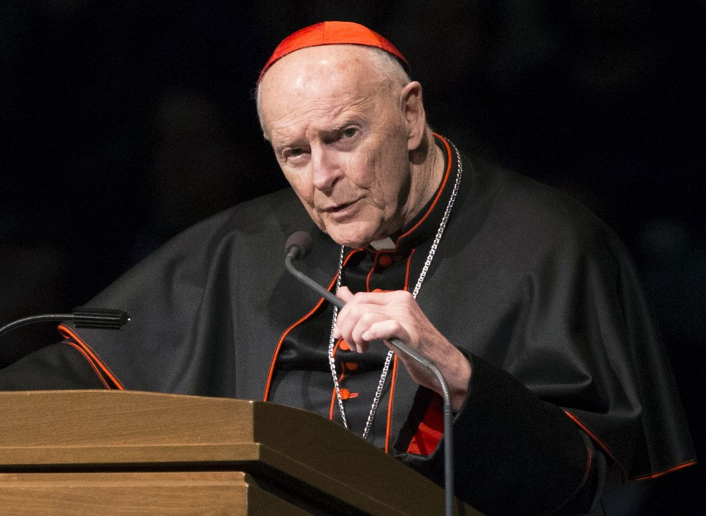 FILE - In this March 4, 2015, file photo, Cardinal Theodore Edgar McCarrick speaks during a memorial service in South Bend, Ind. In July, Francis remo...