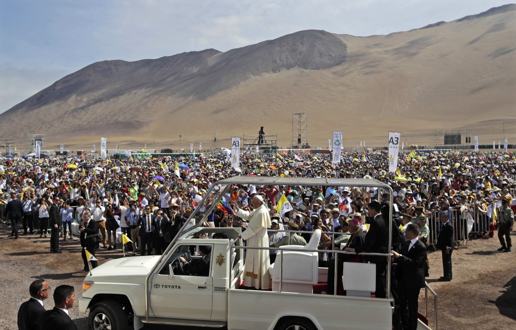 FILE - In this Jan. 18, 2018, file photo, Pope Francis arrives to celebrate Mass on Lobito Beach in Iquique, Chile. Francis' January visit was dominat...