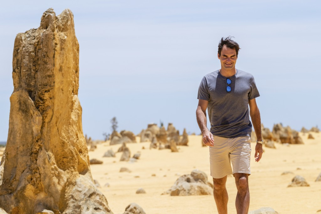 Swiss tennis player Roger Federer is seen during a media event at the Pinnacles in Nambung National Park, Western Australia Thursday, Dec. 27, 2018. F...