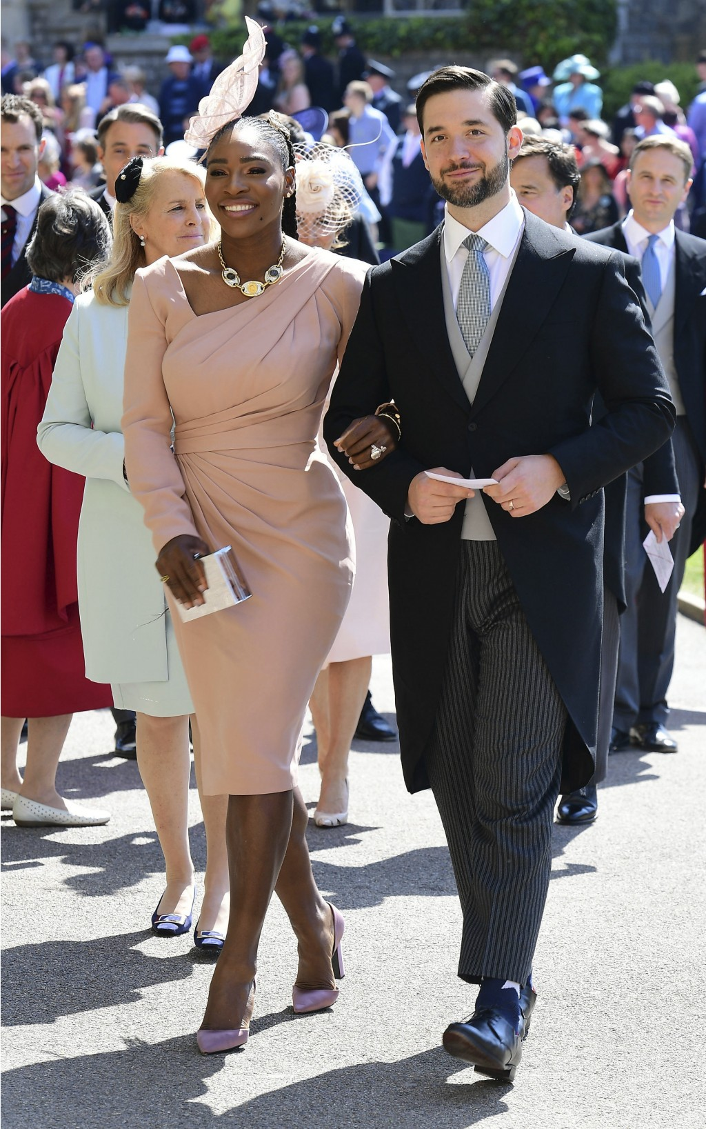 FILE - In this May 19, 2018, file photo, Serena Williams and her husband Alexis Ohanian arrive for the wedding ceremony of Prince Harry and Meghan Mar...