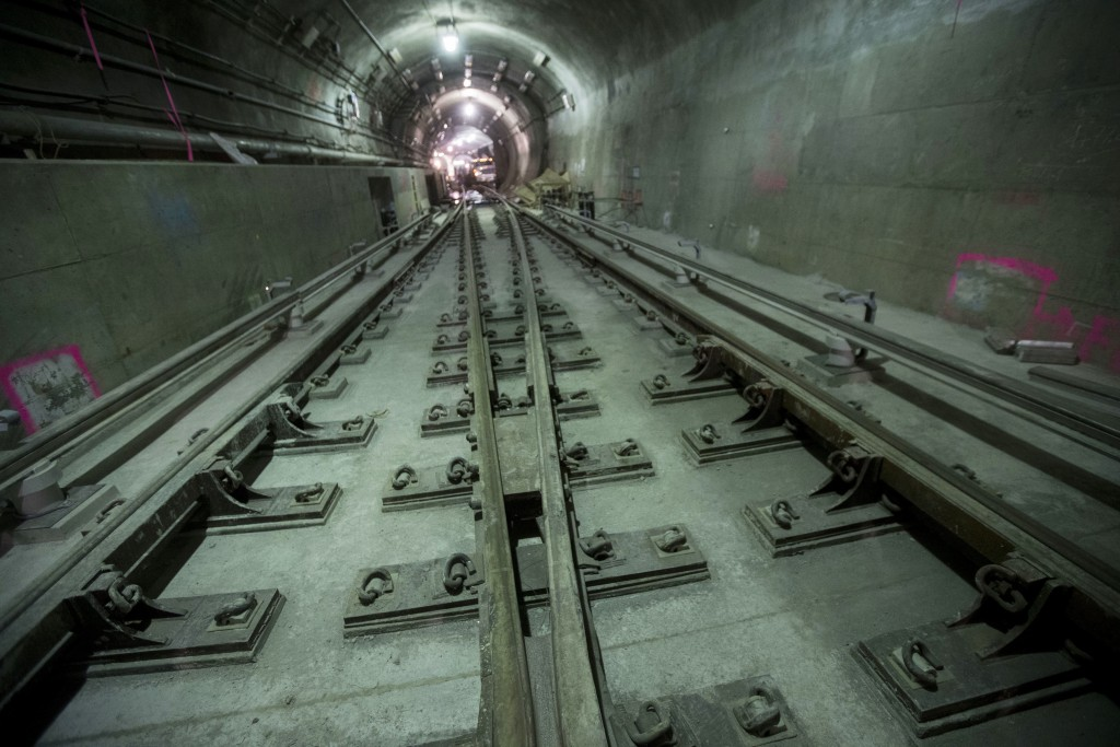 In this Nov. 29, 2018 photo, tracks converge in the East Side Access project beneath Grand Central Terminal in New York. The super-pricey new railroad...