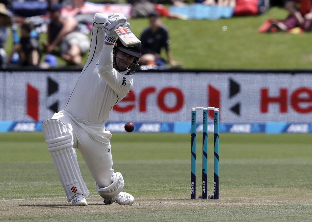 New Zealand's Henry Nicholls bats during play on day three of the second cricket test between New Zealand and Sri Lanka at Hagley Oval in Christchurch...