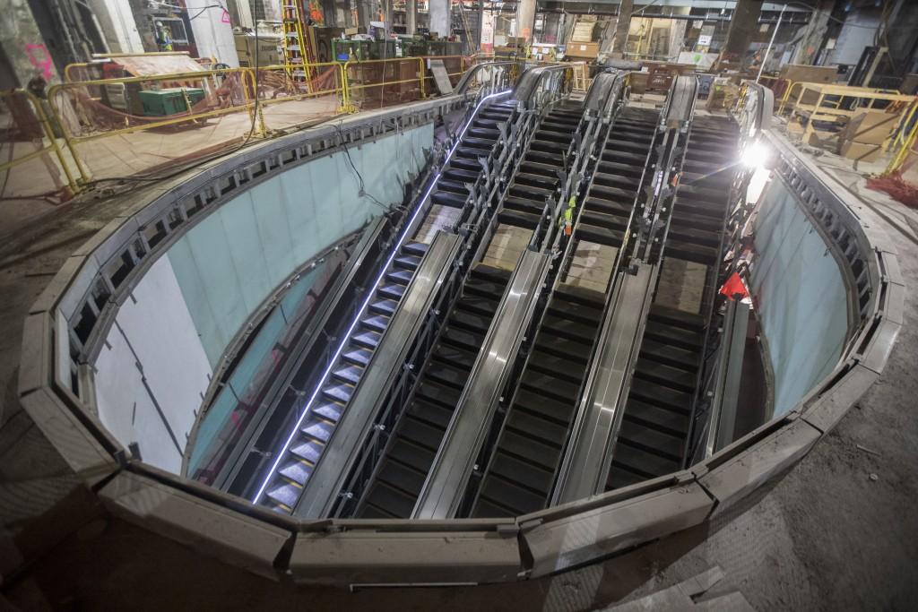 This Nov. 29, 2018 photo shows one of four escalators that will carry passengers from the concourse level to the mezzanine and train platforms of the ...