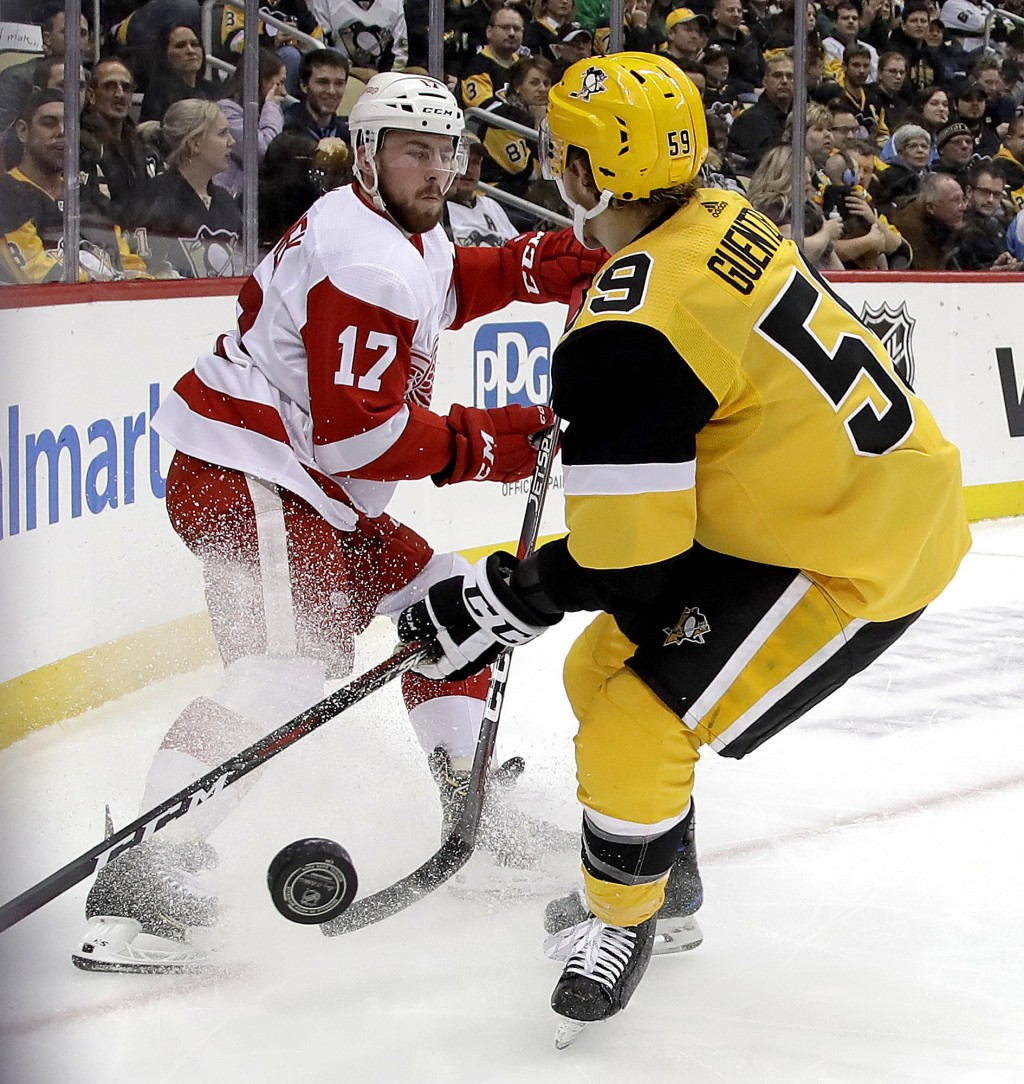 Detroit Red Wings' Filip Hronek (17) clears the puck before Pittsburgh Penguins' Jake Guentzel (59) can get his stick on it during the second period o...
